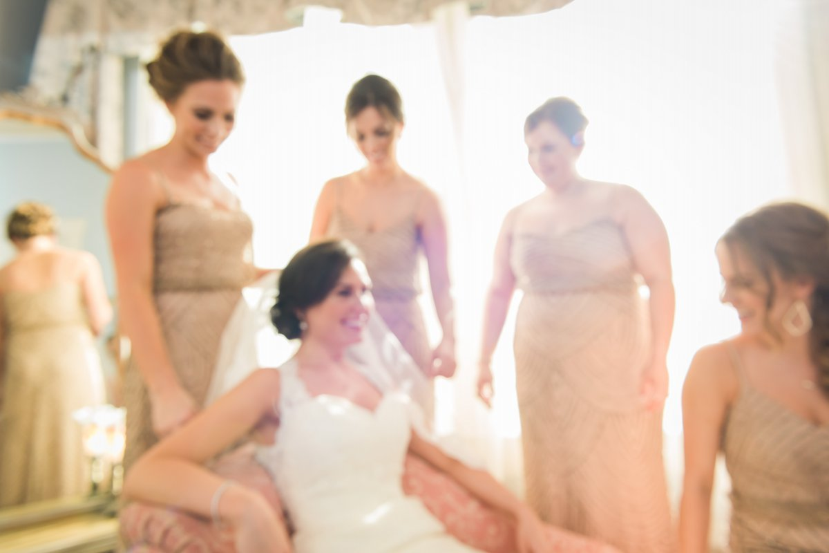 Chic Butlers Courtyard Wedding Bride Getting Ready with Bridesmaids
