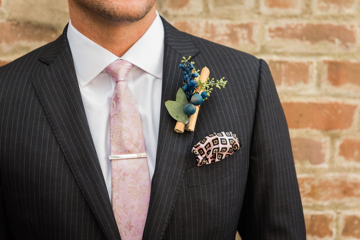 Groom's Boutonniere Ideas at Butler's Courtyard Wedding