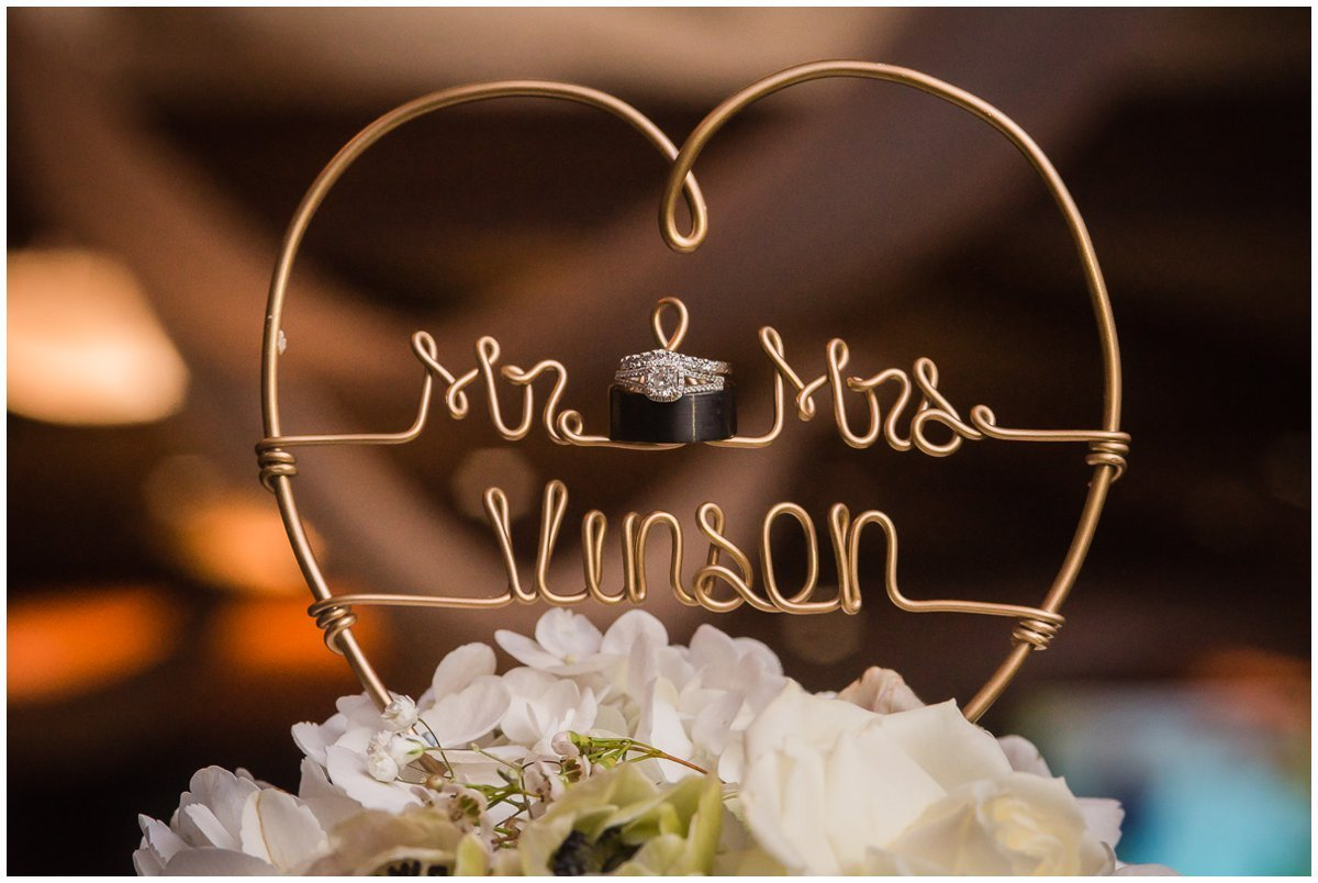 The Admiral on Clear Lake Wedding Cake Topper with Rings