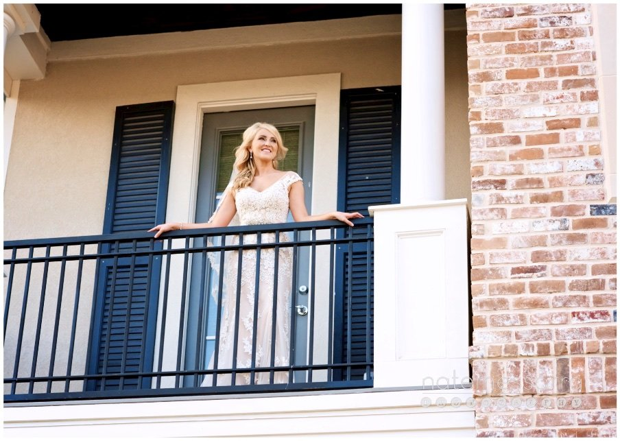 Houston Bridal Portraits in home on balcony