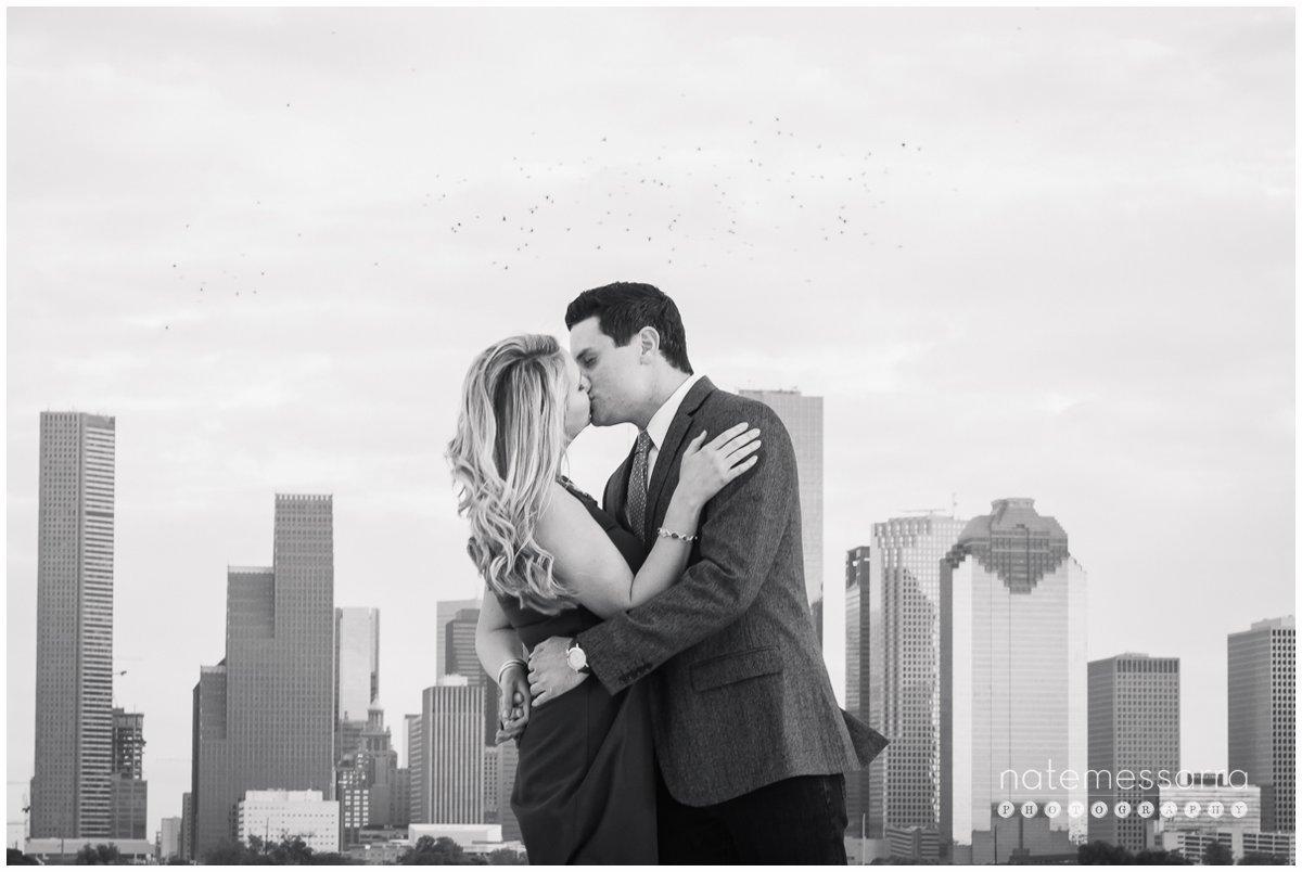 Romantic Houston Skyline Engagement Portraits at The Astorian