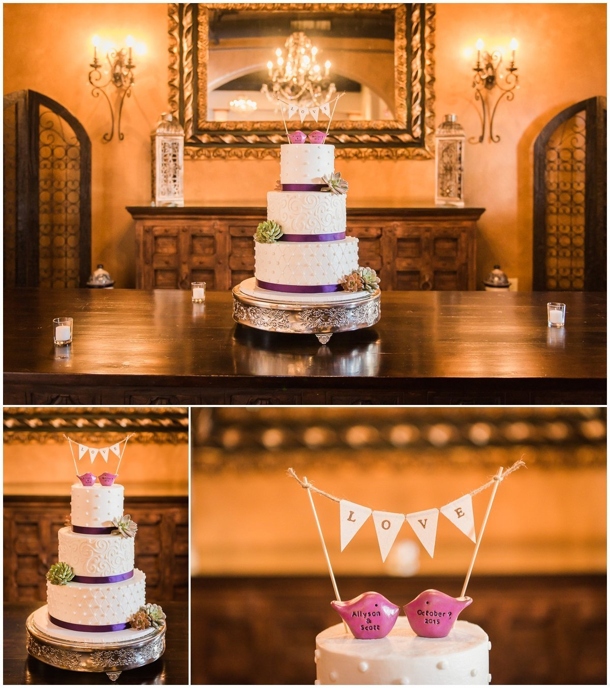 Madera Estates Wedding Cake Pictures with Purple theme