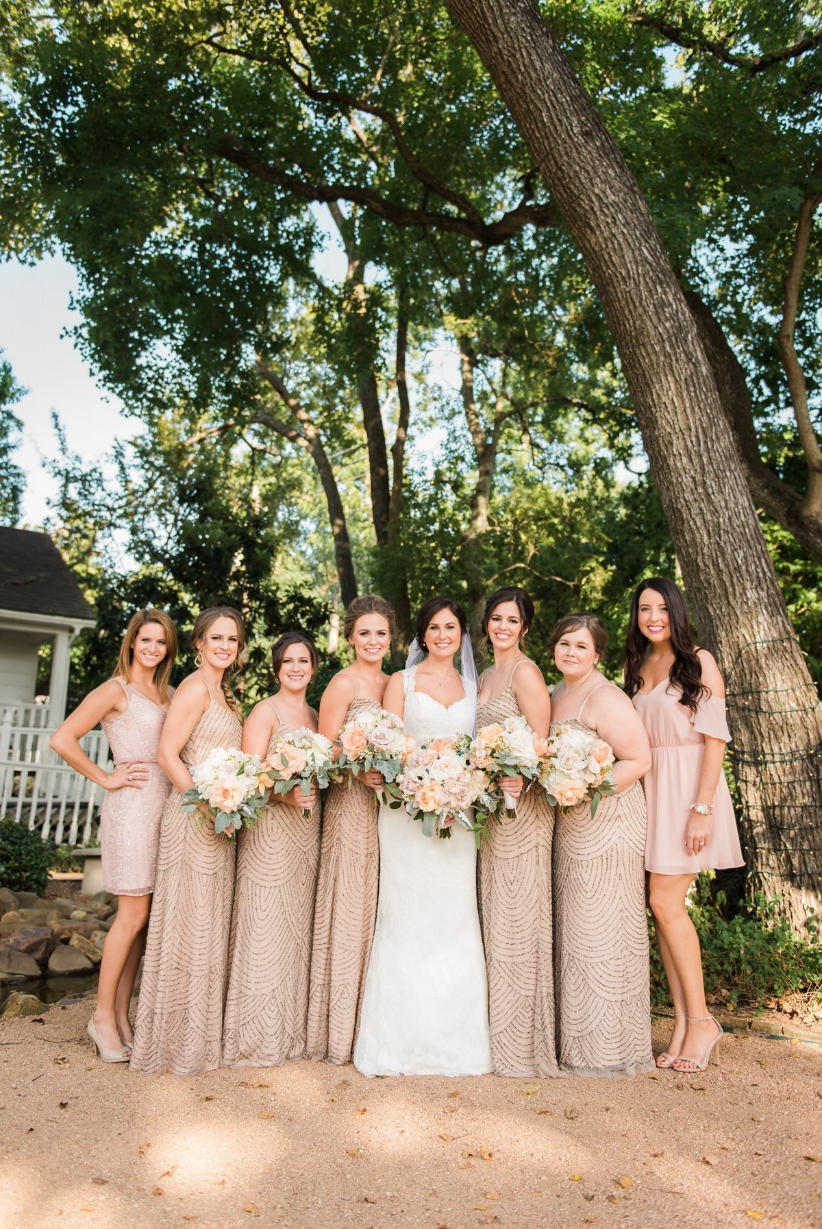 Chic Butlers Courtyard Wedding Bridesmaids and Bride