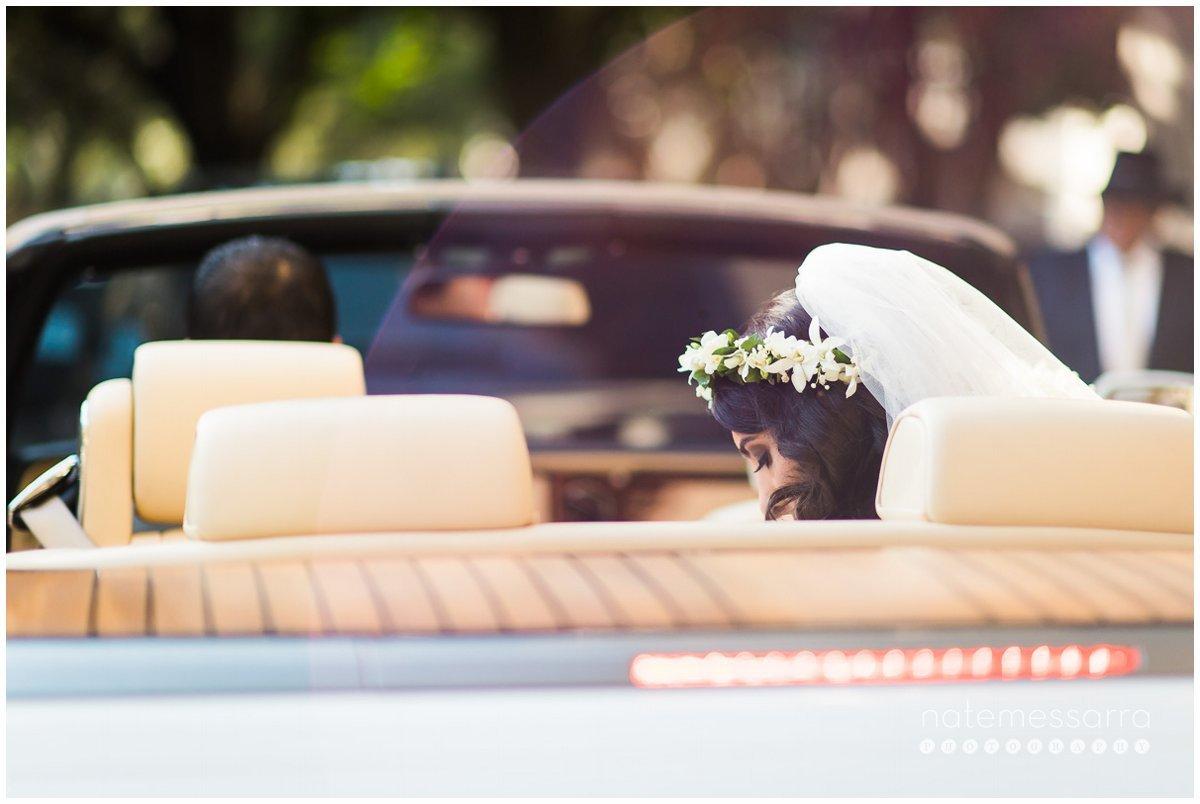 St. Regis Houston Wedding Bride in Car