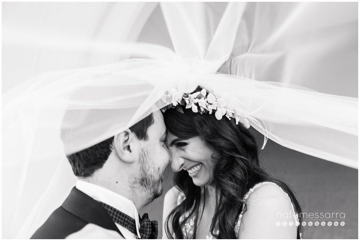 Joyous St. Regis Houston Wedding Bride and Groom underneath veil