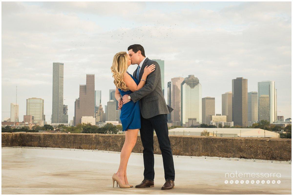 Houston Skyline Engagement Portraits at The Astorian